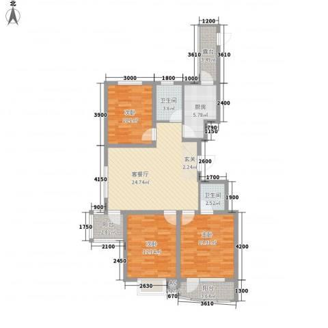 兴旺小区3室1厅2卫1厨119.00㎡户型图