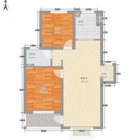 香缇郡2室1厅1卫1厨89.00㎡户型图
