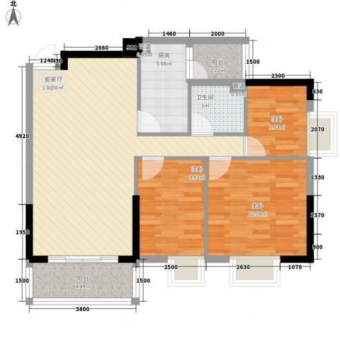 同乐花园3室1厅1卫1厨68.33㎡户型图