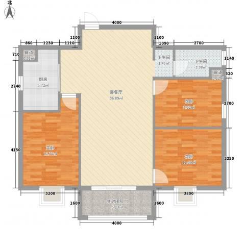 东盛・公园1号3室1厅1卫1厨118.00㎡户型图