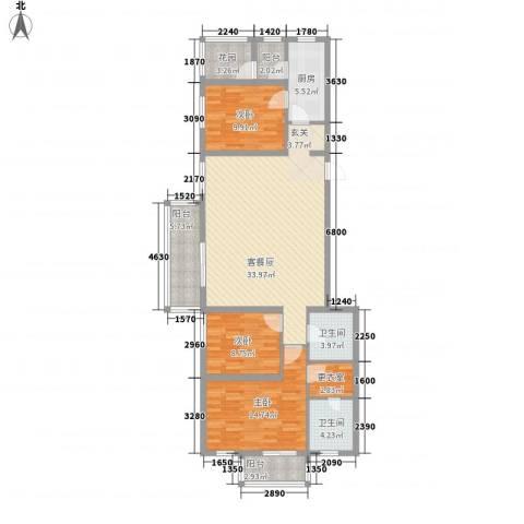 朝阳花园3室0厅2卫1厨135.00㎡户型图
