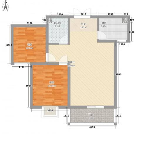 富丽广场2室1厅1卫1厨88.00㎡户型图