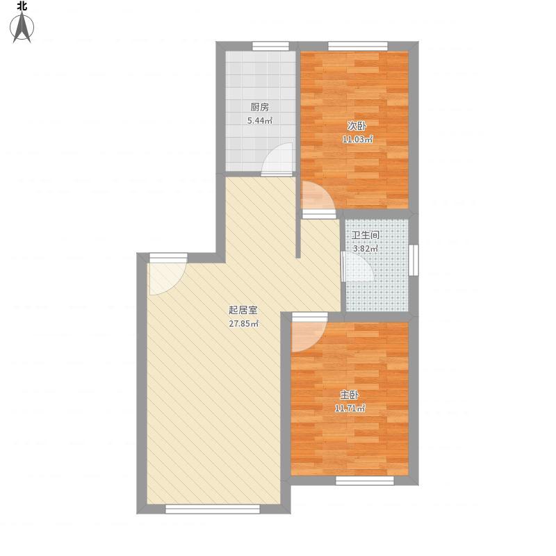 银川永泰城4号、11号P户两室两厅80平米户型图
