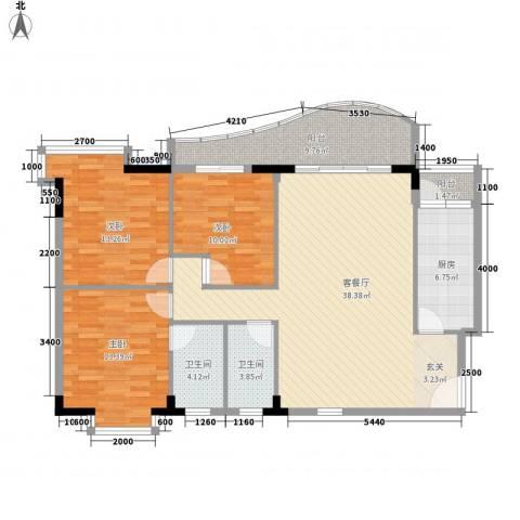 灵溪美居3室1厅2卫1厨137.00㎡户型图