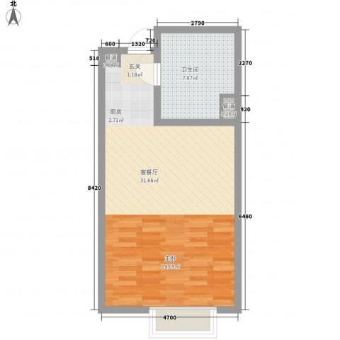 合景峰汇公寓1厅1卫0厨55.00㎡户型图