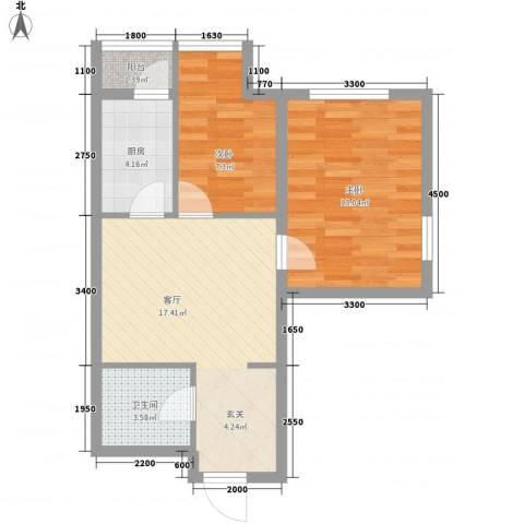 丽阳馨苑2室1厅1卫1厨67.00㎡户型图