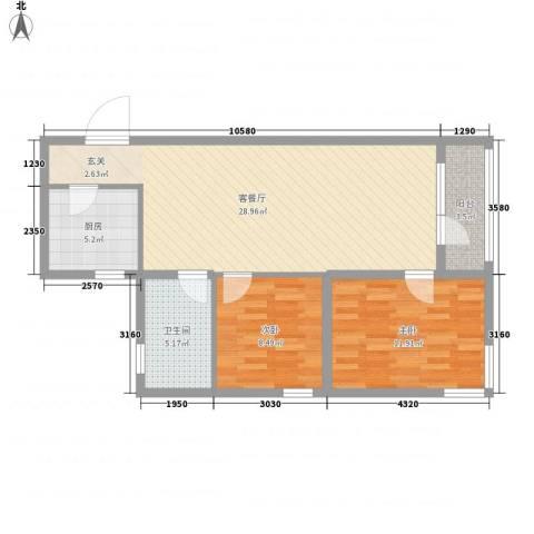 香江生态名郡2室1厅1卫1厨82.00㎡户型图