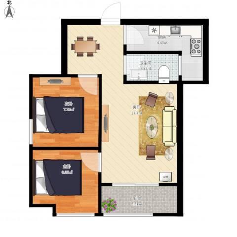 融侨城2室1厅1卫1厨60.00㎡户型图