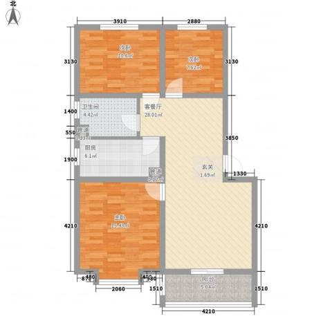 富丽广场3室1厅1卫1厨77.46㎡户型图