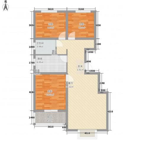富丽广场3室1厅1卫1厨79.10㎡户型图