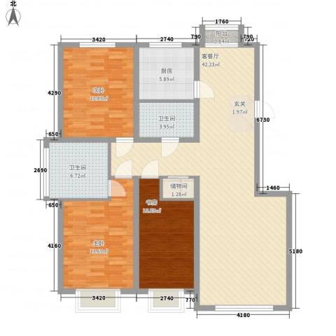 武夷嘉园3室1厅2卫1厨140.00㎡户型图