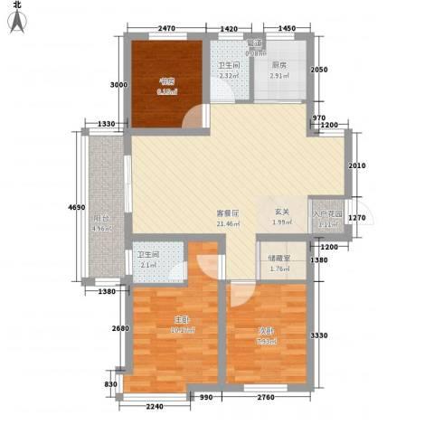 朝阳花园3室0厅2卫1厨137.00㎡户型图