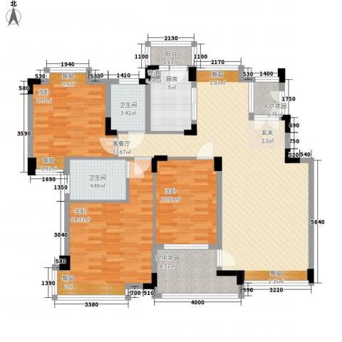 中新国际3室1厅2卫1厨125.00㎡户型图