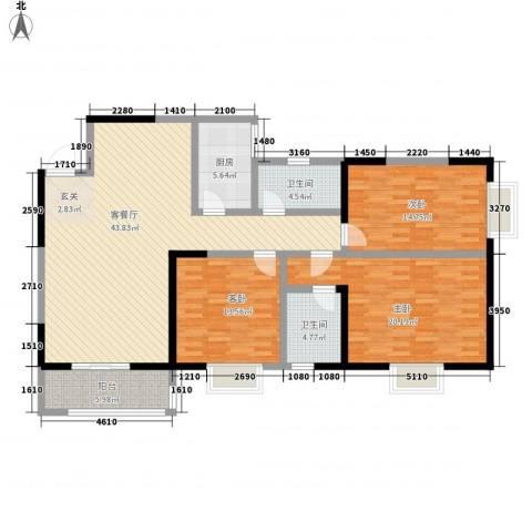 百花御景名都3室1厅2卫1厨151.00㎡户型图