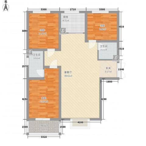 富丽广场3室1厅2卫1厨121.00㎡户型图