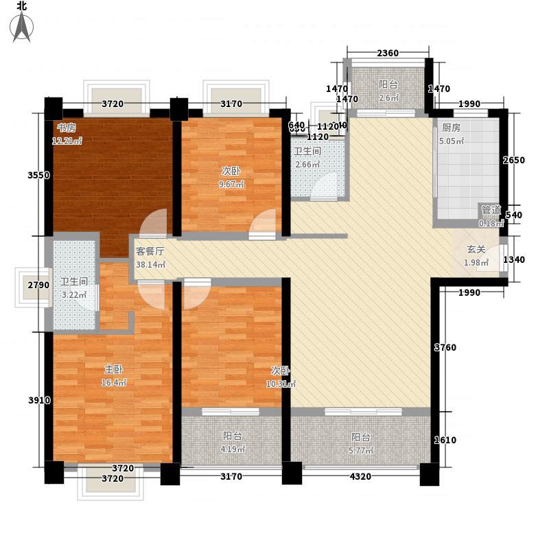 世茂海峡城16.00㎡H三阳台户型4室2厅2卫1厨