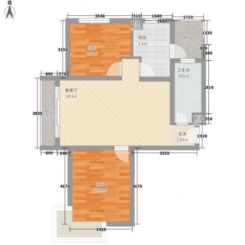 大华阳城七期阳城贵都2室1厅1卫1厨96.00㎡户型图