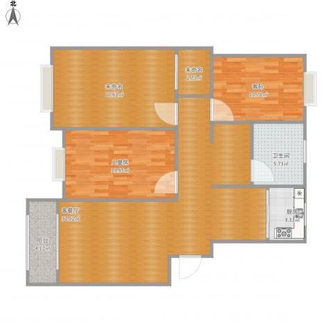 射阳幸福华城2室1厅1卫1厨128.00㎡户型图