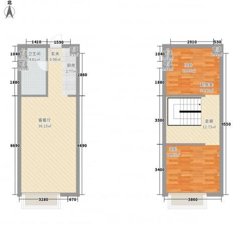合景峰汇公寓1厅1卫0厨70.04㎡户型图