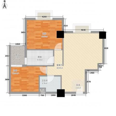 东岸未来城2室1厅1卫1厨91.00㎡户型图