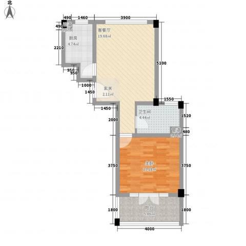 开世嘉年1室1厅1卫1厨60.00㎡户型图
