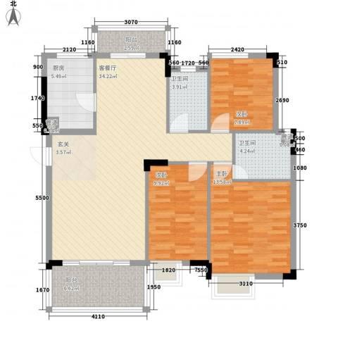 万科城市风景3室1厅2卫1厨125.00㎡户型图