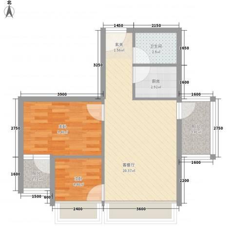 城果2室1厅1卫1厨64.00㎡户型图