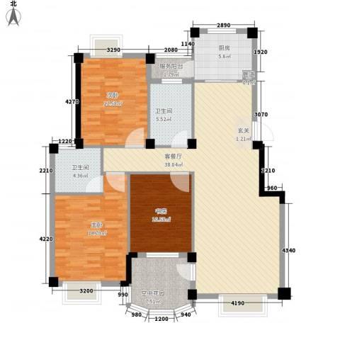 航天花园三期3室1厅2卫1厨124.00㎡户型图