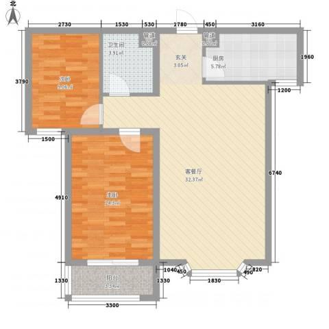 尚水金地2室1厅1卫1厨68.92㎡户型图