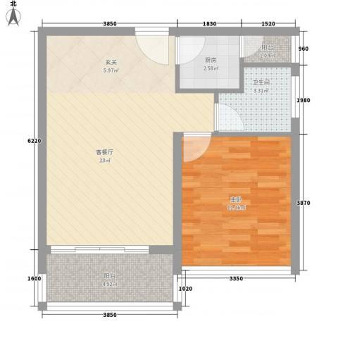 城果1室1厅1卫1厨48.00㎡户型图