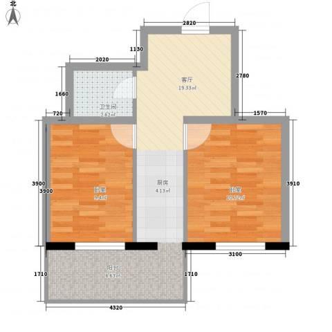 应赫金海城1厅1卫0厨48.00㎡户型图