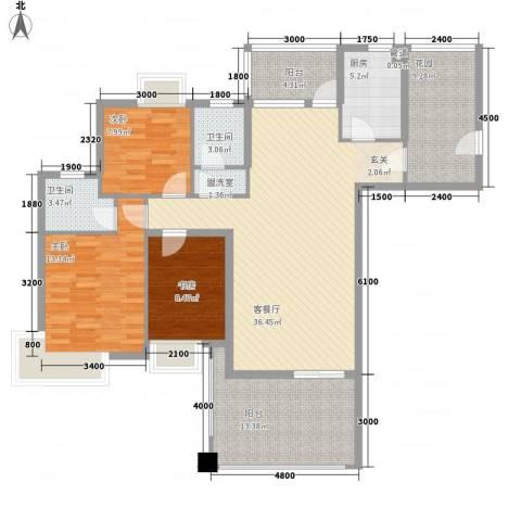 云河湾3室1厅2卫1厨130.00㎡户型图