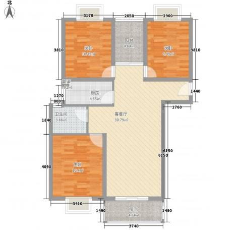 润泽东都二期宽域3室1厅1卫1厨115.00㎡户型图