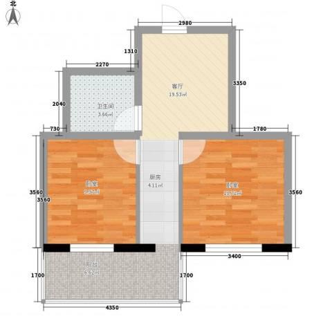 应赫金海城1厅1卫0厨43.27㎡户型图