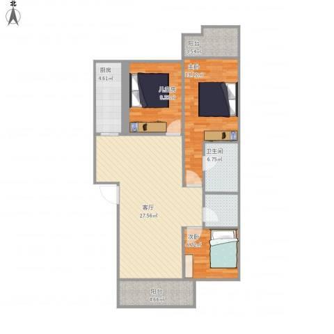 同安大唐世家3室1厅1卫1厨105.00㎡户型图