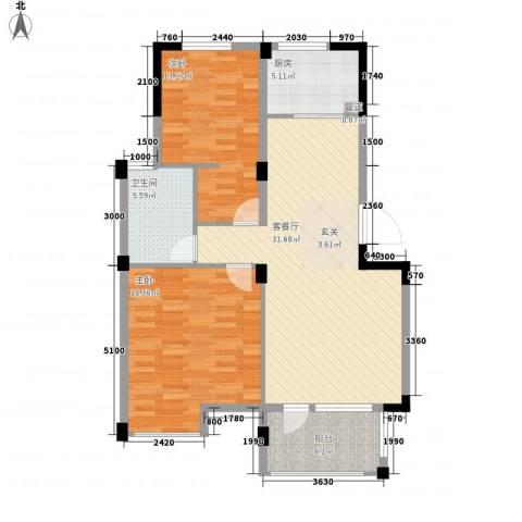 月秀花园2室1厅1卫1厨112.00㎡户型图