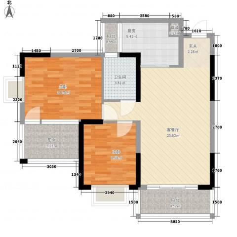 水岸名都2室1厅1卫1厨90.00㎡户型图