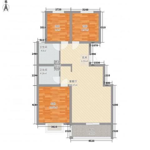 富丽广场3室1厅2卫0厨78.85㎡户型图