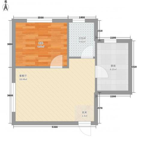 明城嘉苑二期1室1厅1卫1厨55.00㎡户型图