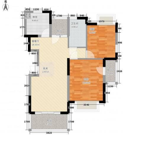 水岸名都2室1厅1卫1厨89.00㎡户型图