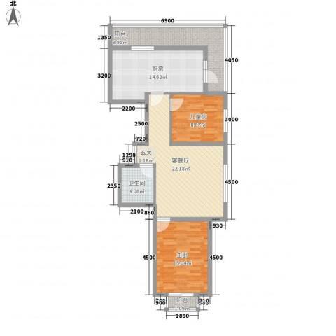 明城嘉苑二期2室1厅1卫1厨107.00㎡户型图