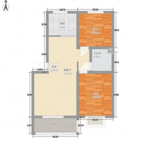 富丽广场2室1厅1卫1厨82.00㎡户型图