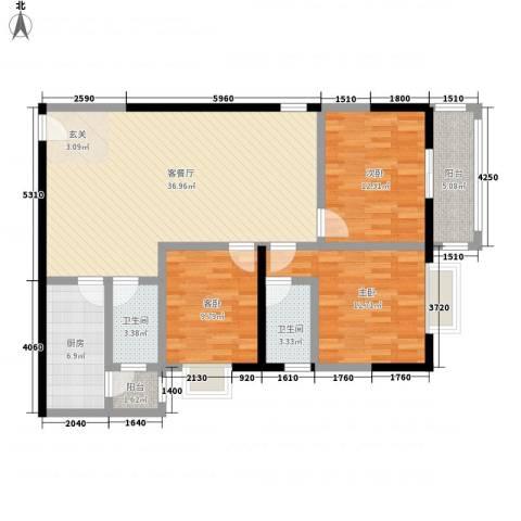 百花御景名都3室1厅2卫1厨126.00㎡户型图