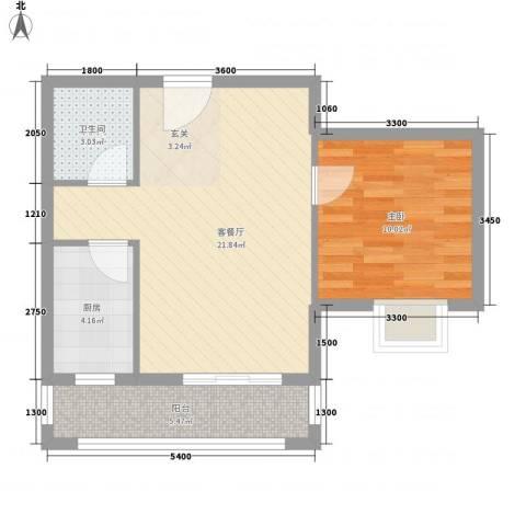 丽园馨都1室1厅1卫1厨64.00㎡户型图