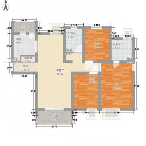 合景峰汇公寓3室1厅2卫1厨101.00㎡户型图