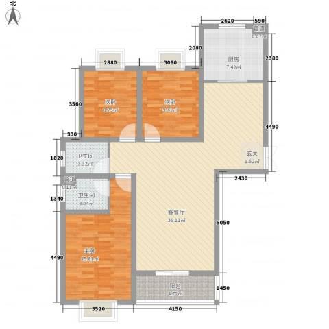 和信花园3室1厅2卫1厨130.00㎡户型图