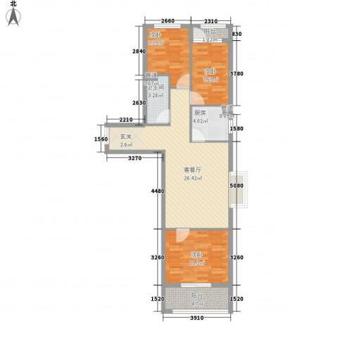 和信花园3室1厅1卫1厨96.00㎡户型图