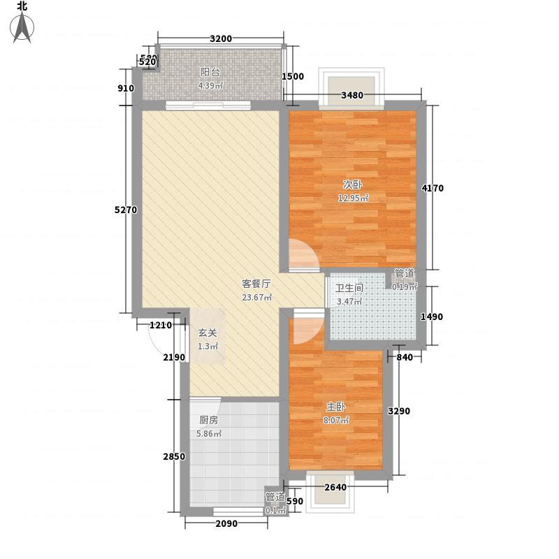 美林湾84.20㎡一期多层6#7#8#标准层A户型2室2厅1卫1厨