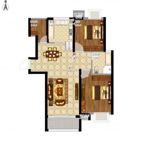 米兰浅山郡2室1厅1卫1厨103.00㎡户型图