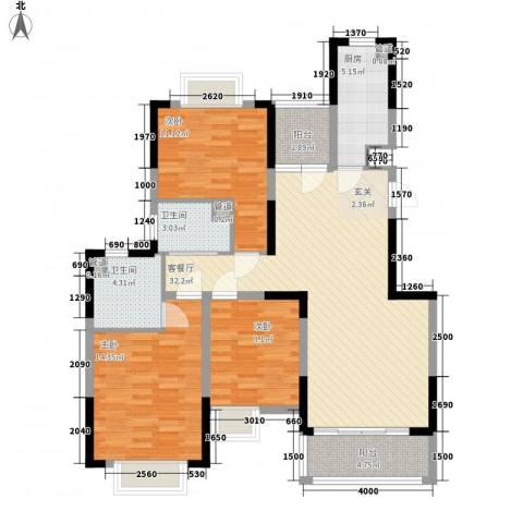水岸名都3室1厅2卫1厨113.00㎡户型图